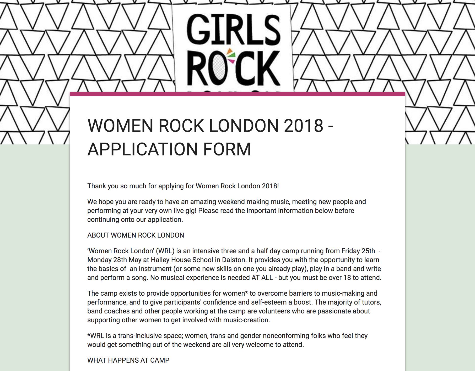 Women Rock London Registration form